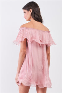 Flirty Pink Pleated Off-The-Shoulder Frill Trim Mini Dress