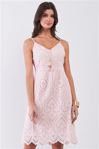 Light Pink Crochet Dress with Bow Shoulder Strap