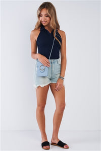 Navy Blue Collared Ribbed Button Up Sleeveless Halter Bodysuit