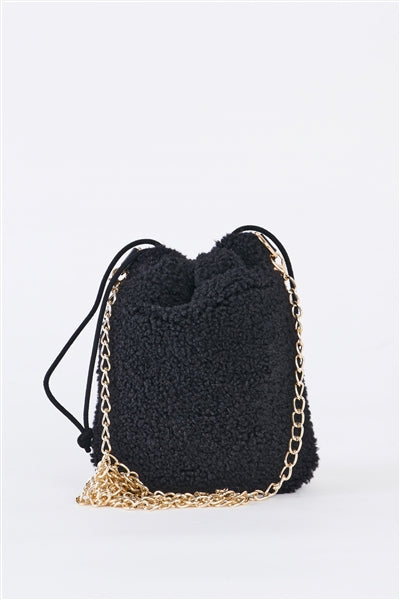 Black Faux Fur Plush Crossbody Pouch Bag