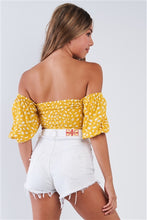 Load image into Gallery viewer, Lemon Yellow Polka Dotted Off The Shoulder Puff Sleeve Elastic Crop Top