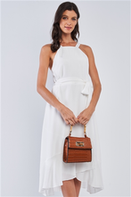 Load image into Gallery viewer, Dreamy Bahamas Camel Faux Alligator Skin Handbag With Bamboo Handle Accent