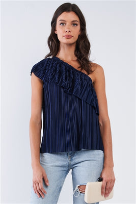 Solid Navy Blue Satin Crinkle Asymmetric Off-One-Shoulder Ruffle Detail Top