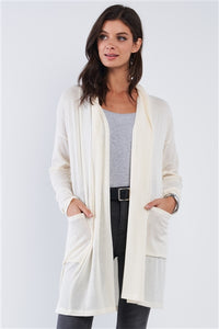 Ivory Open Front Pleated Collar Ribbed Long Sleeve Cardigan