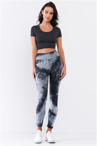 Comfy Dark Teal Tie-Dye Yoga Legging Pants