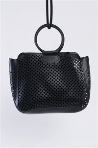 Black Cloth Double Layered Faux Leather Mesh Hidden Magnetic Snap Button Closure Crossbody Handbag