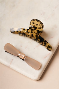Cheetah Print Butterfly Clip & Icy Pink Bow Barrette Set