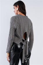 Load image into Gallery viewer, Grey Long Sleeve V-Neck Knit Self-Tie Open Back Cropped Sweater