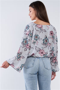 Ice Blue Multi Color Floral Print Relaxed Fit Wide Sleeve Waistline Hem Self Tie Draw String Plunge Neck Sexy Summer Top