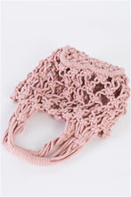Load image into Gallery viewer, Pink Cotton Net Bucket Bag