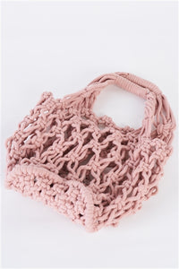 Pink Cotton Net Bucket Bag