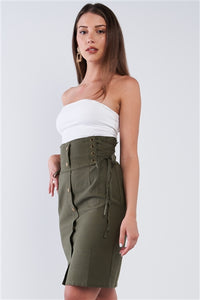 Khaki Green Tight Fit Front Button Down High Waist Tube Mini Skirt With Side Corset Draw String Tie Details
