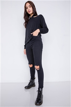 Load image into Gallery viewer, Black Shoulder Cut Out Pull Over Hoodie Relaxed Fit Sweater
