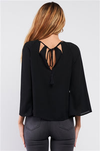 Black Long Sleeve Blouse with Cut Out Detail