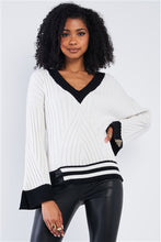 Load image into Gallery viewer, Snow White Thick Plush Knit Black Block Stripped Sweaters