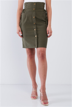 Load image into Gallery viewer, Khaki Green Tight Fit Front Button Down High Waist Tube Mini Skirt With Side Corset Draw String Tie Details