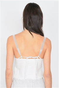 Off-White Hook & Eye Bustier Corset Sheer Cami Strap Chic Top