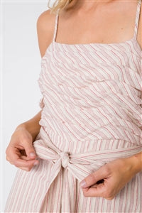 Mauve Spaghetti Strap Striped Jumpsuit