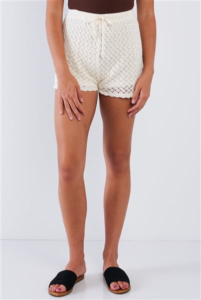 Natural Cream Crotchet Draw String High Waisted Boho Shorts
