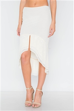 Load image into Gallery viewer, Slit flounced Midi Skirt - Cream