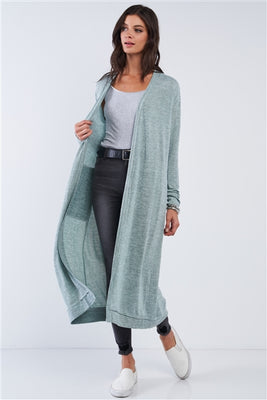 Sage Open Front Long Sleeve Cardigan With Side Pockets