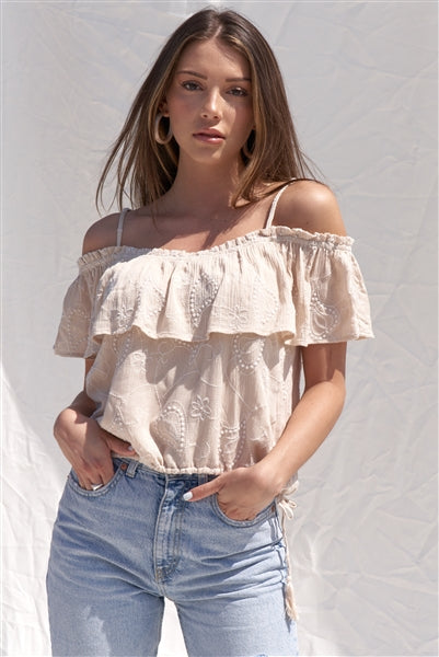 Embroidered Bohemian Relaxed Fit Ruffle Hem Off-The-Shoulder Cropped Top