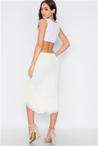 Slit flounced Midi Skirt - Cream