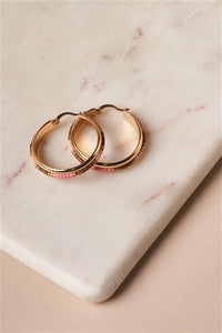 Pink And Brown Beaded Accent Gold Hoop Earrings