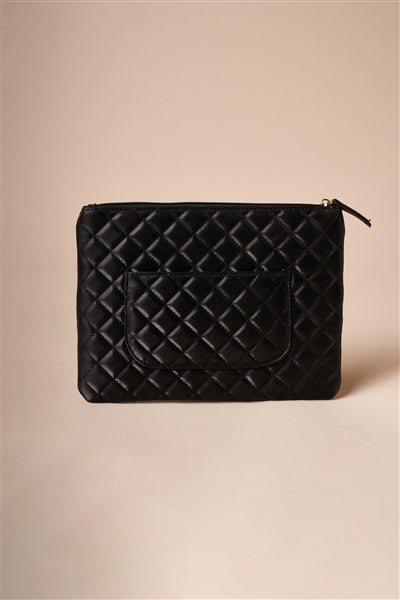 Black Quilted Rectangle Pouch Bag