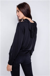 Black Shoulder Cut Out Pull Over Hoodie Relaxed Fit Sweater