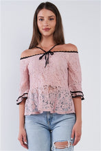 Dusty Pink Off The Shoulder Cropped Peplum Top