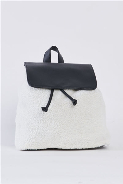 Black & White Flap Faux Fur Vegan Leather Draw String Tie Backpack