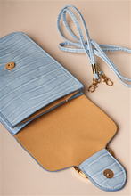 Load image into Gallery viewer, Light Blue Snakeskin Print Crossbody Wallet Bag
