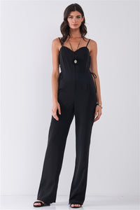 Black Sleeveless Side Lace-Up Jumpsuit