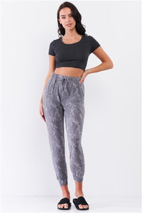 Grey Camo Print Loose Fit Track Pants