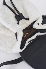 Load image into Gallery viewer, Black & White Flap Faux Fur Vegan Leather Draw String Tie Backpack