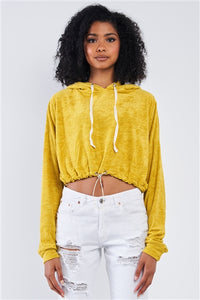 Soft Relaxed Fit Cropped Hoodie with Loop Draw String