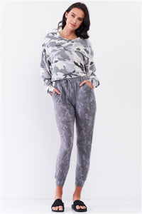 Ivory & Grey Camo Fuzzy Cropped Track Top
