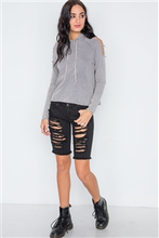 Load image into Gallery viewer, Grey Stonewash Laser Cut Shoulders Sweater