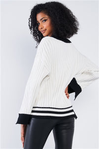 Snow White Thick Plush Knit Black Block Stripped Sweaters