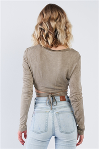 Taupe Acid Wash Waist Tie Crop Top
