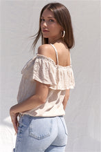 Load image into Gallery viewer, Embroidered Bohemian Relaxed Fit Ruffle Hem Off-The-Shoulder Cropped Top