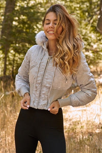 Icy Silver Winter Bomber Jacket with Fur Hood