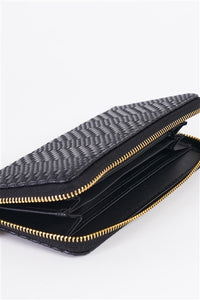 Black Woven Texture Vegan Leather Zipper Wallet