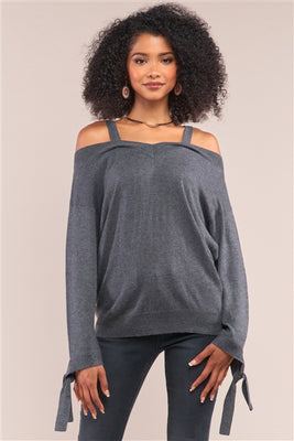 Grey Off-The-Shoulder Heart Neckline Relaxed Fit Sweater