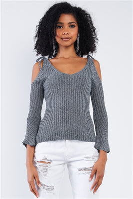 Grey Silver Tinsel Knitted Peek-A-Boo Shoulder Top