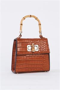 Dreamy Bahamas Camel Faux Alligator Skin Handbag With Bamboo Handle Accent