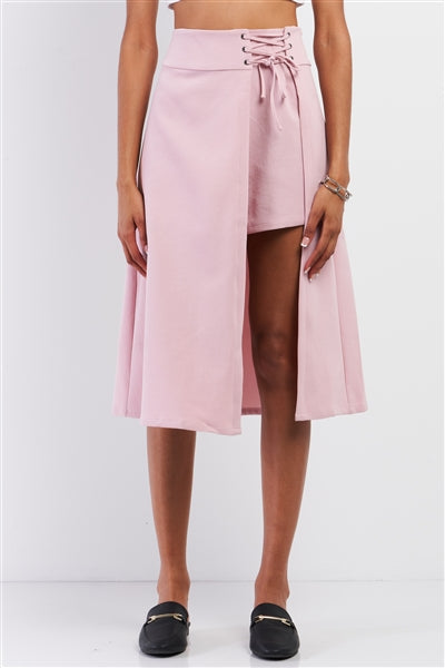 Pink Asymmetrical Lace-Up Detail Skort