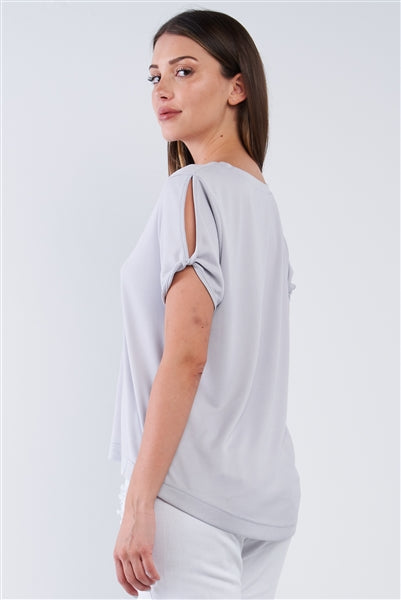Light Grey Lose Fit V-Neck Peek-A-Boo Shoulder Top