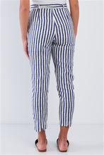 Navy Striped Tapered Belted Capri Pant